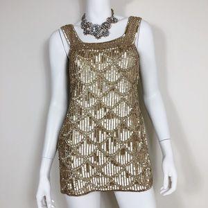 G1-16: Arden B Gold 100% silk Sequin dress x-small
